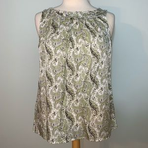 Talbots green/brown paisley blouse